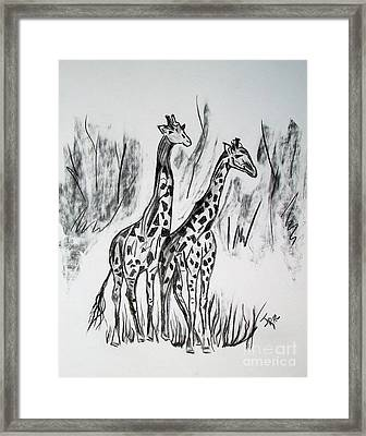 Framed Print featuring the drawing Two Giraffe's In Graphite by Janice Rae Pariza