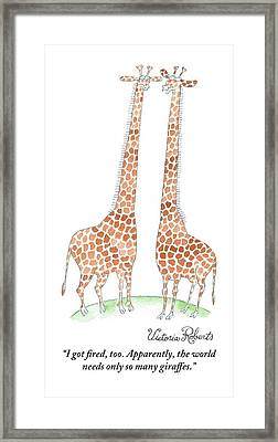 Two Giraffes Talking Framed Print
