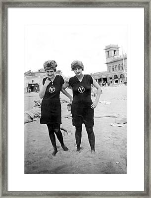 Two Girls At Venice Beach Framed Print by Underwood Archives