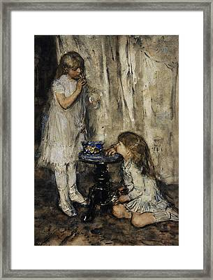 Two Girls Blowing Bubbles Framed Print by Jacob Maris