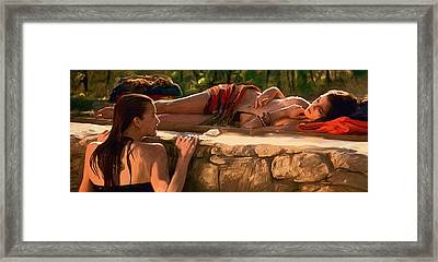 Two Girls By The Pool Framed Print by Dominique Amendola