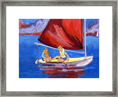 Two Girls Set To Sail With Red Sail Framed Print by Betty Pieper