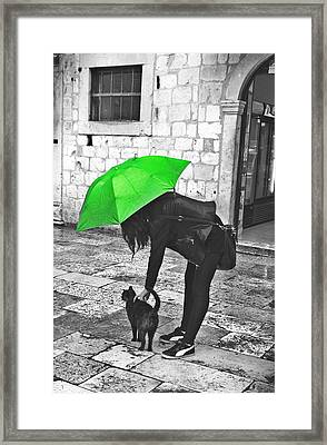 Two Girls Under Umbrella Framed Print