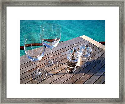 Two Glasses At The Blue Lagoon Framed Print by Jenny Rainbow
