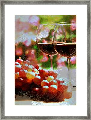 Two Glasses Of Wine With Grapes Framed Print