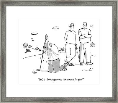 Two Golfers Speak To A Man Framed Print by Michael Crawford