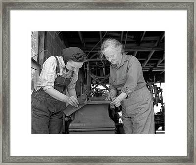 Two Grandmothers Processing Vital Parts Framed Print by Stocktrek Images
