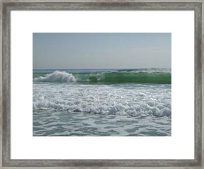Two Green Waves Framed Print