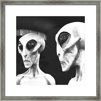 Two Grey Aliens Science Fiction Square Format Black And White Film Grain Digital Art Framed Print by Shawn O'Brien
