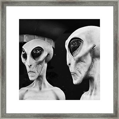 Two Grey Aliens Science Fiction Square Format Black And White Framed Print by Shawn O'Brien