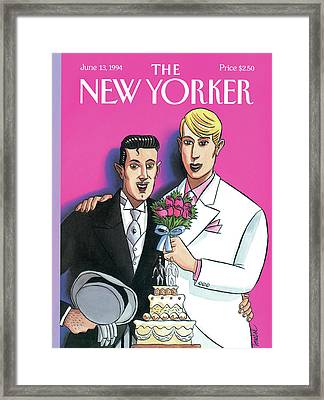 Two Grooms At Their Wedding Infront Framed Print by Jacques de Loustal