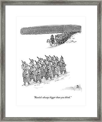 Two Groups Of Army Troops Walk In Opposite Framed Print by Paul Noth