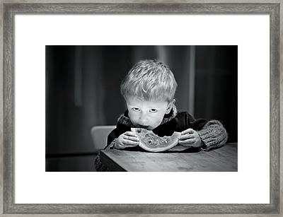 Two Hands And A Slice Of Adorable Framed Print by Valerie Rosen