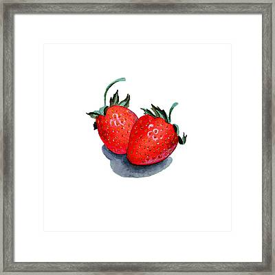 Two Happy Strawberries Framed Print