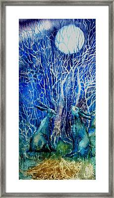 Two Hares Contemplate An Owl By Moonlight     Framed Print by Trudi Doyle