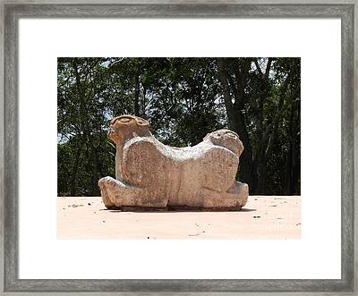 Two Headed Jaguar Throne At Uxmal Yucatan Mexico Framed Print by Michael Hoard