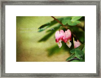 Two Hearts Framed Print by Darren Fisher