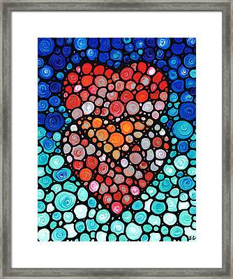 Two Hearts - Mosaic Art By Sharon Cummings Framed Print by Sharon Cummings