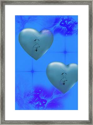 Framed Print featuring the digital art Two Hearts Together On Valentine's Day  by Angel Jesus De la Fuente