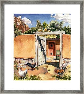 Two Hens And A Rooster At Ghost Ranch Framed Print by Anne Gifford