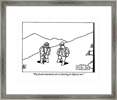Two Hikers Are Talking To Each Other Outdoors Framed Print by Bruce Eric Kaplan