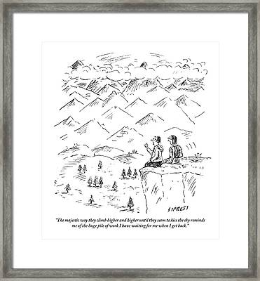 Two Hikers In A Mountainous Area Are Resting. One Framed Print