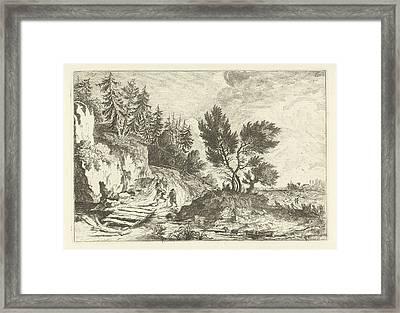 Two Hikers On A Bridge, Joannes Bemme Framed Print