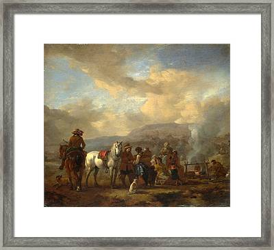 Two Horsemen At A Gipsy Encampment Framed Print
