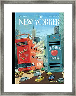 Two Huge Double Decker Tourist Buses Shooting Framed Print