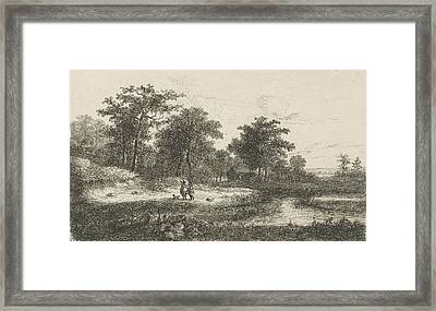 Two Hunters Near A Fen, Print Maker Hermanus Jan Hendrik Framed Print