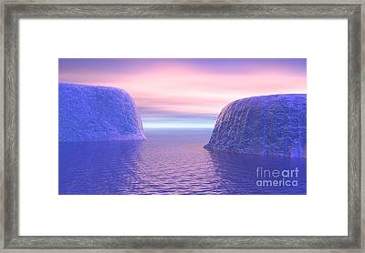 Two Icebergs Face To Face In The Ocean Framed Print