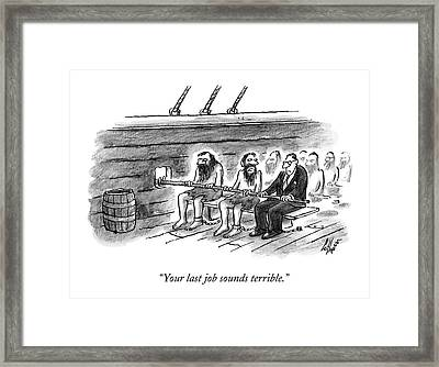 Two Imprisoned Rowers In A Ship Sit Next Framed Print