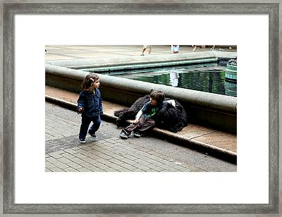 Two Kids And A Dog Framed Print