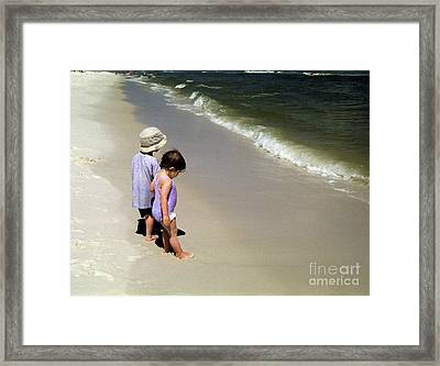 Two Kids At The Beach Framed Print