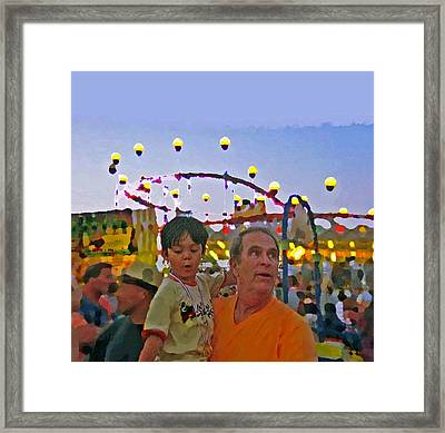 Two Kids At The Jersey Shore Framed Print by Lisa Piper