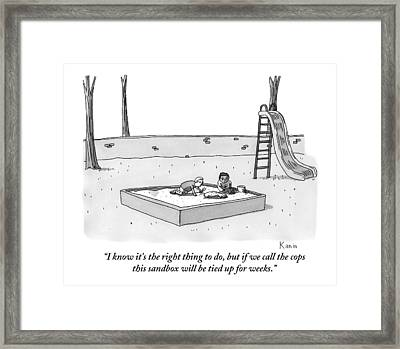 Two Kids Playing In A Sandbox Find An Arm Framed Print