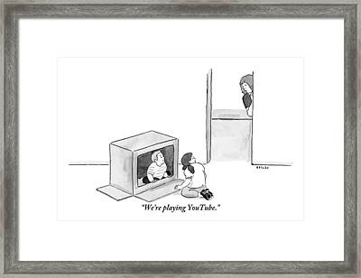 Two Kids Playing With A Cardboard Box Framed Print by Emily Flake