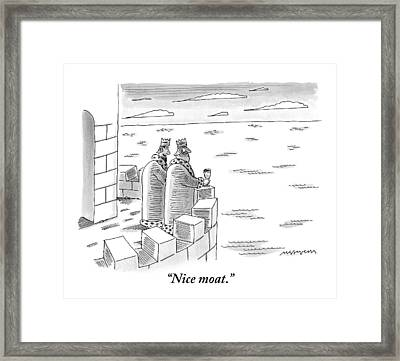 Two Kings Are Seen Standing On A Castle Looking Framed Print by Mick Stevens