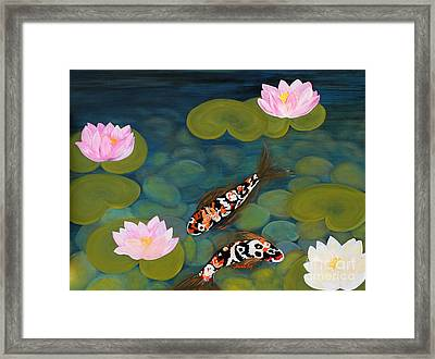Framed Print featuring the painting Two Koi Fish And Lotus Flowers by Oksana Semenchenko