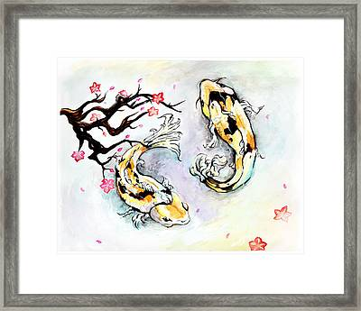 Two Kois Framed Print by Miguel Karlo Dominado