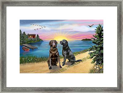 Two Labs At The Lake Framed Print by Jean B Fitzgerald