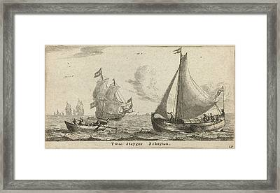 Two Landing Barges, Reinier Nooms Framed Print