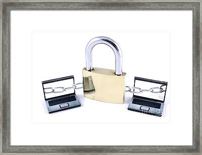 Two Laptops Chained To A Large Padlock Framed Print