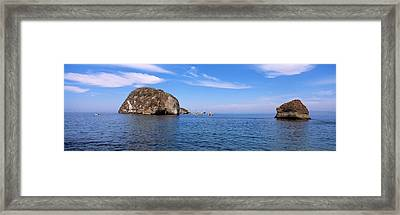 Two Large Rocks In The Ocean, Los Framed Print