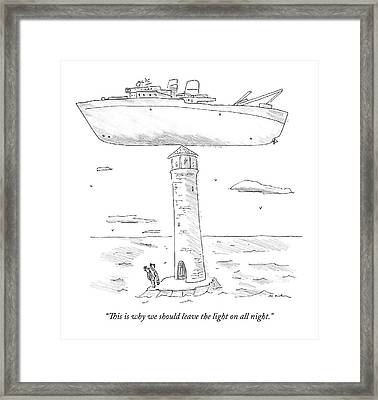Two Lighthouse Keepers Look Up At A Boat That Framed Print
