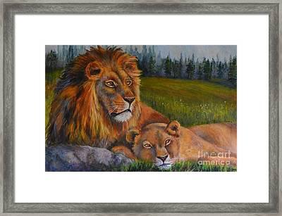 Two Lions Framed Print by Jana Baker
