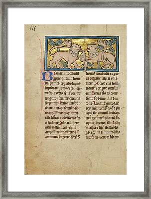 Two Lions Reviving Their Dead Cubs Unknown Thérouanne Framed Print by Litz Collection