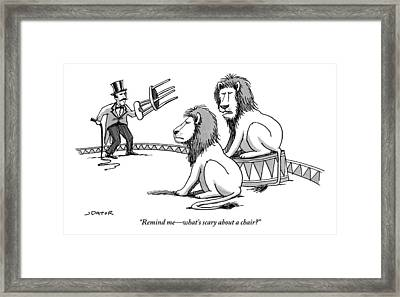 Two Lions Talk As A Lion Tamer Shakes A Chair Framed Print