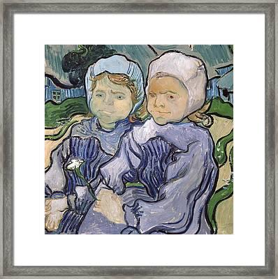 Two Little Girls Framed Print by Vincent Van Gogh