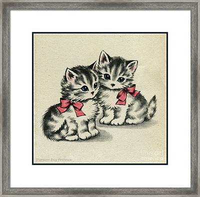 Two Little Kittens Happy To Be With You.  Framed Print
